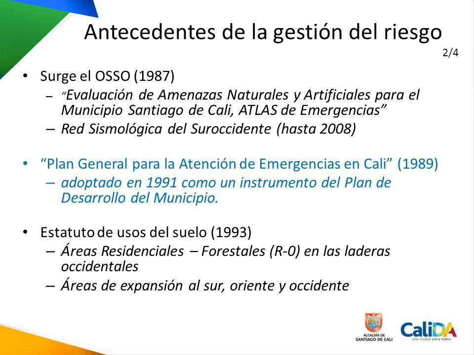 Surge el OSSO (1987) – Evaluación de Amenazas Naturales y Artificiales para el Municipio Santiago de Cali, ATLAS de Emergencias – Red Sismológica del