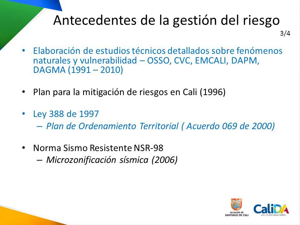 Elaboración de estudios técnicos detallados sobre fenómenos naturales y vulnerabilidad – OSSO, CVC, EMCALI, DAPM, DAGMA (1991 – 2010) Plan para la mit