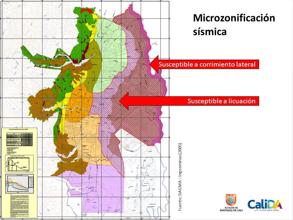 Susceptible a licuación Susceptible a corrimiento lateral Microzonificación sísmica Fuente: DAGMA – Ingeominas (2005)