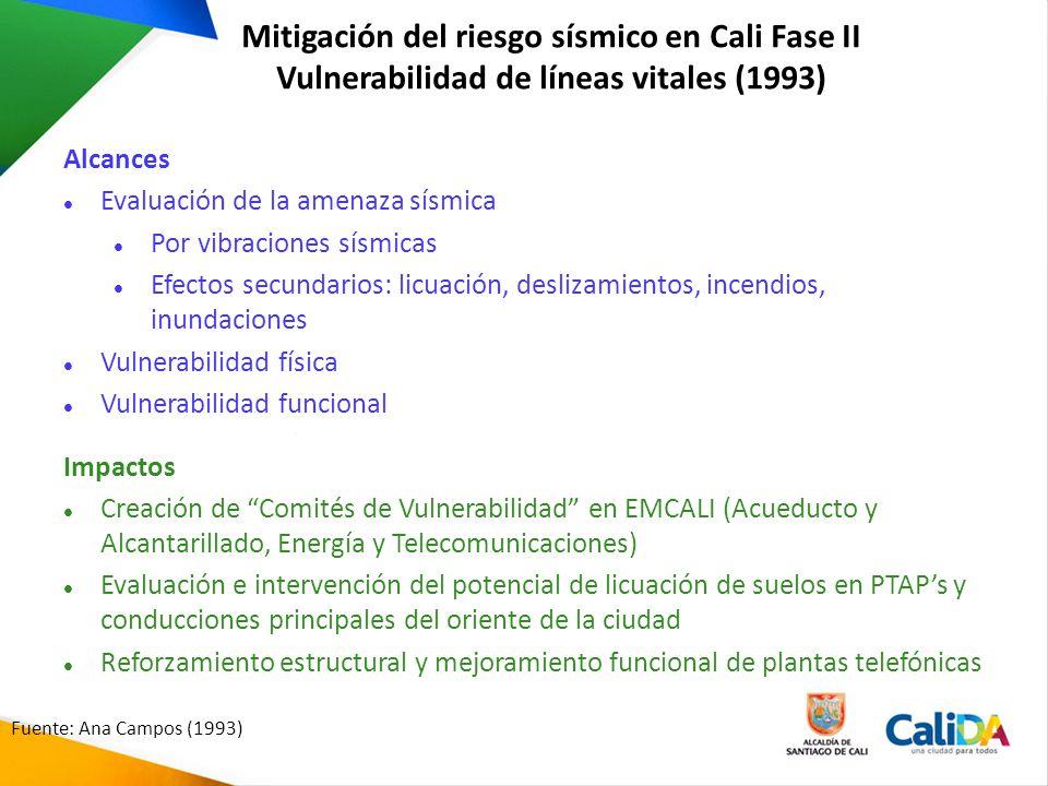 Mitigación del riesgo sísmico en Cali Fase II Vulnerabilidad de líneas vitales (1993) Alcances Evaluación de la amenaza sísmica Por vibraciones sísmic