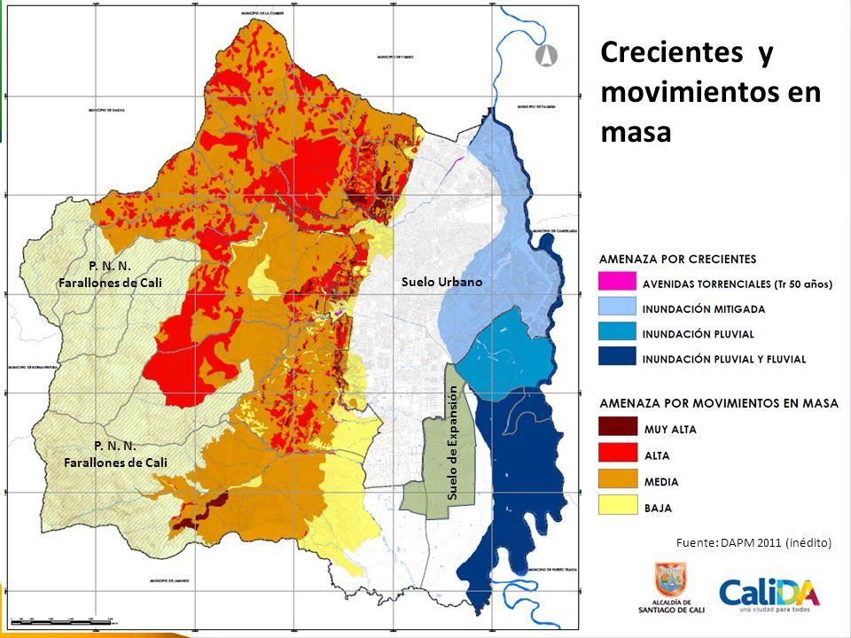 Crecientes y movimientos en masa Fuente: DAPM 2011 (inédito) Suelo de Expansión Suelo Urbano P. N. N. Farallones de Cali P. N. N. Farallones de Cali