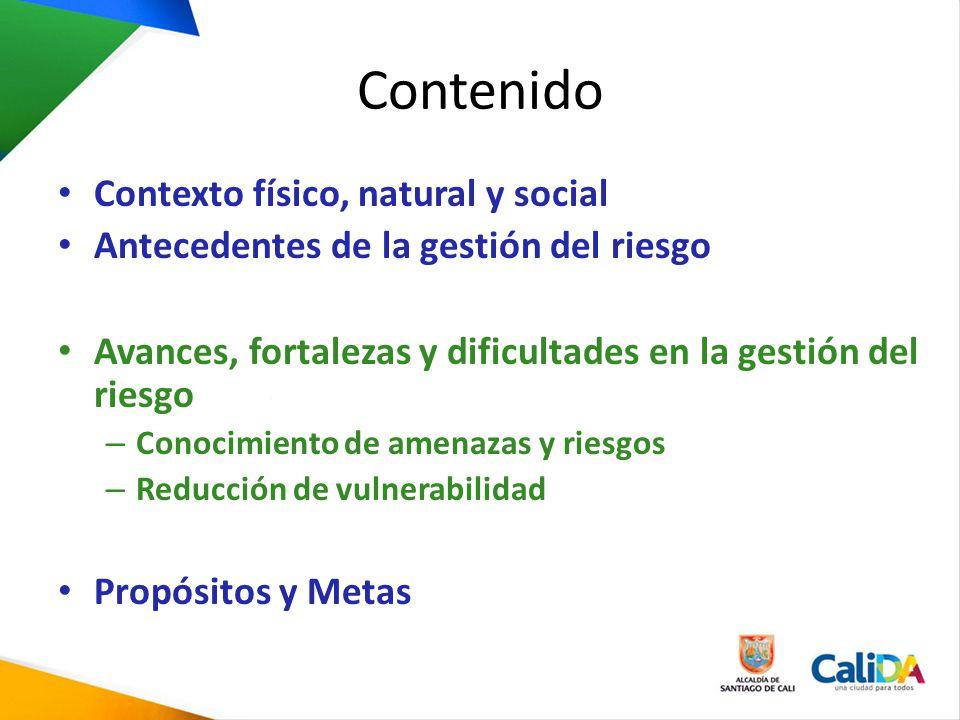 Contenido Contexto físico, natural y social Antecedentes de la gestión del riesgo Avances, fortalezas y dificultades en la gestión del riesgo – Conoci