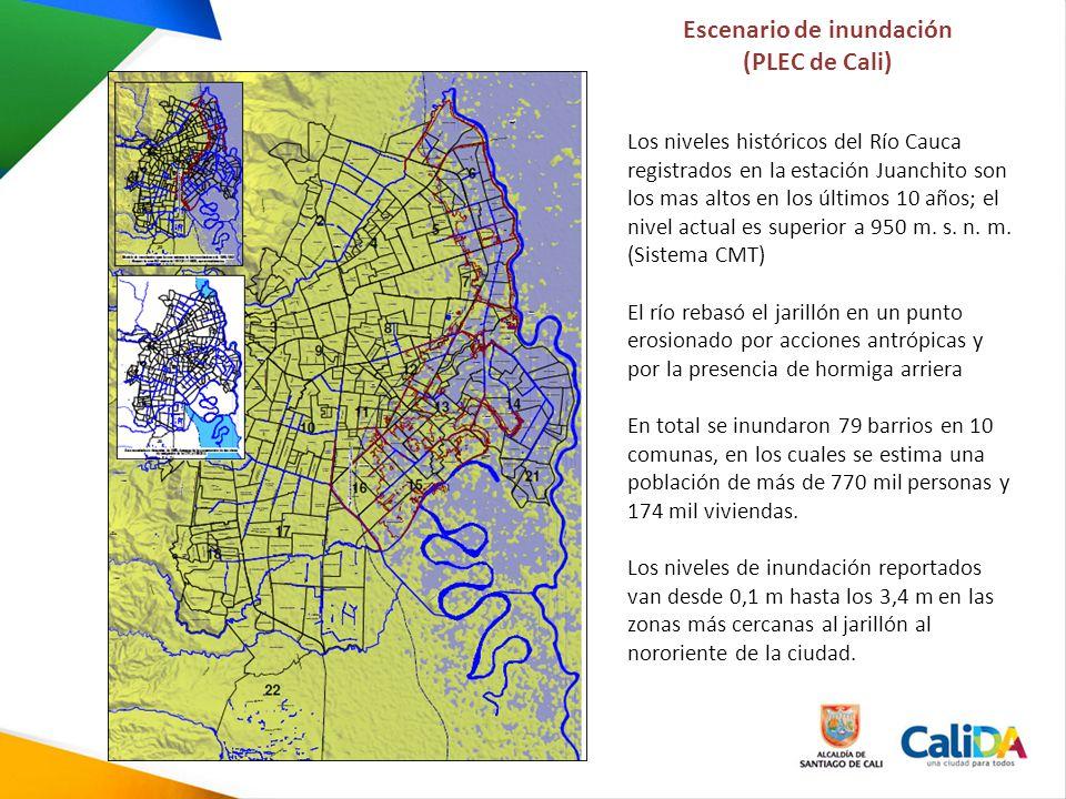 Escenario de inundación (PLEC de Cali) Los niveles históricos del Río Cauca registrados en la estación Juanchito son los mas altos en los últimos 10 a