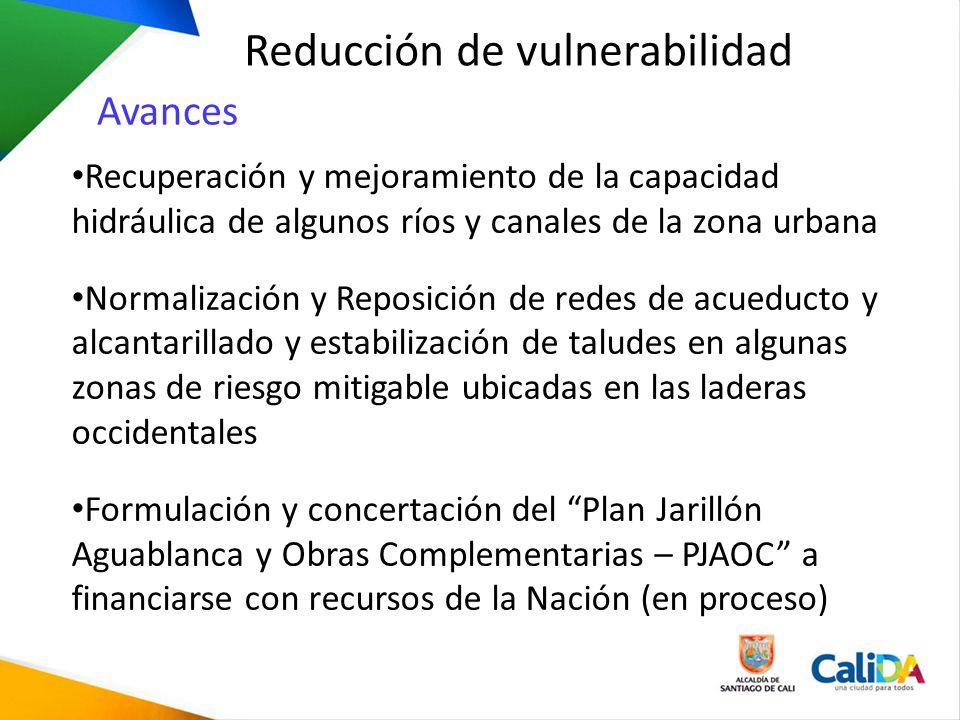 Reducción de vulnerabilidad Recuperación y mejoramiento de la capacidad hidráulica de algunos ríos y canales de la zona urbana Normalización y Reposic
