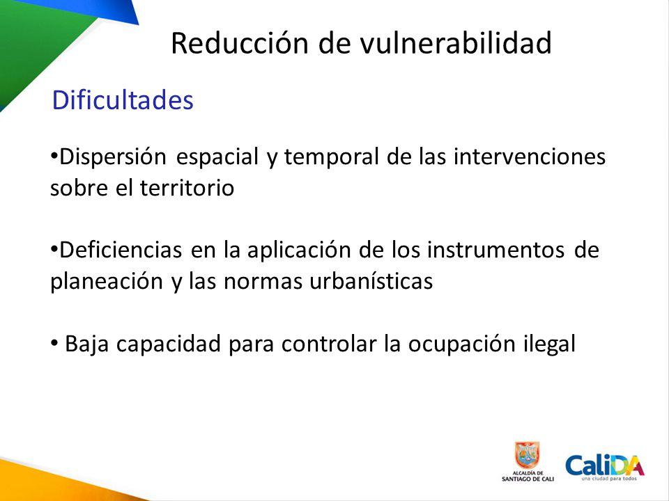 Dispersión espacial y temporal de las intervenciones sobre el territorio Deficiencias en la aplicación de los instrumentos de planeación y las normas