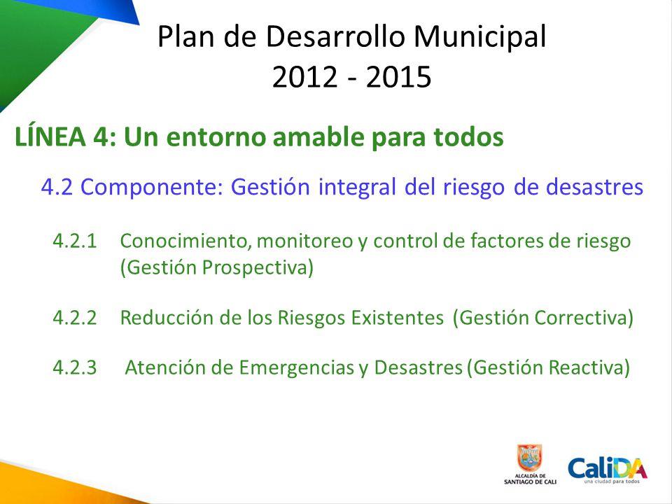 Plan de Desarrollo Municipal 2012 - 2015 LÍNEA 4: Un entorno amable para todos 4.2 Componente: Gestión integral del riesgo de desastres 4.2.1 Conocimi
