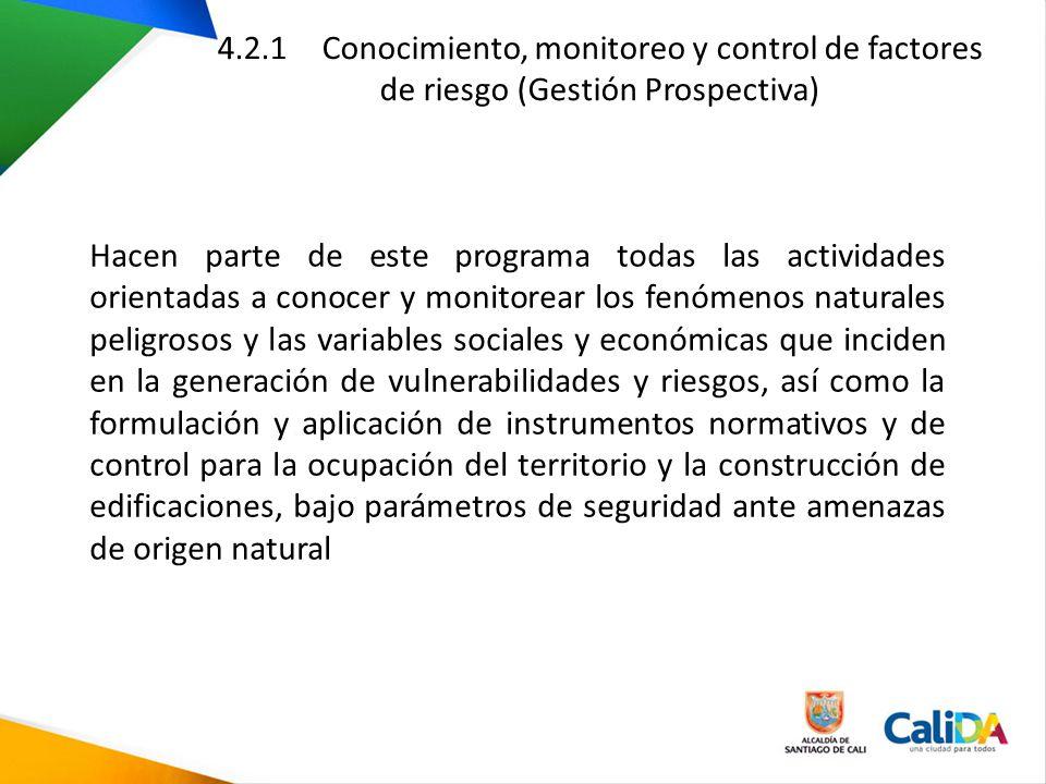 4.2.1 Conocimiento, monitoreo y control de factores de riesgo (Gestión Prospectiva) Hacen parte de este programa todas las actividades orientadas a co