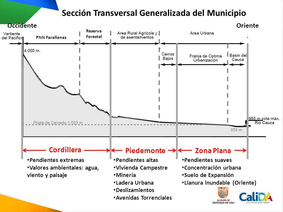 Sección Transversal Generalizada del Municipio PNN Farallones Reserva Forestal Cordillera PiedemonteZona Plana OrienteOccidente Pendientes extremas Va