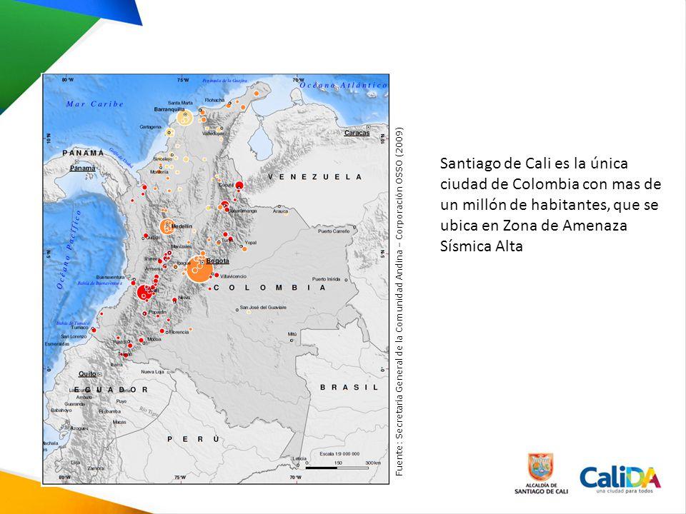Santiago de Cali es la única ciudad de Colombia con mas de un millón de habitantes, que se ubica en Zona de Amenaza Sísmica Alta Fuente: Secretaría Ge