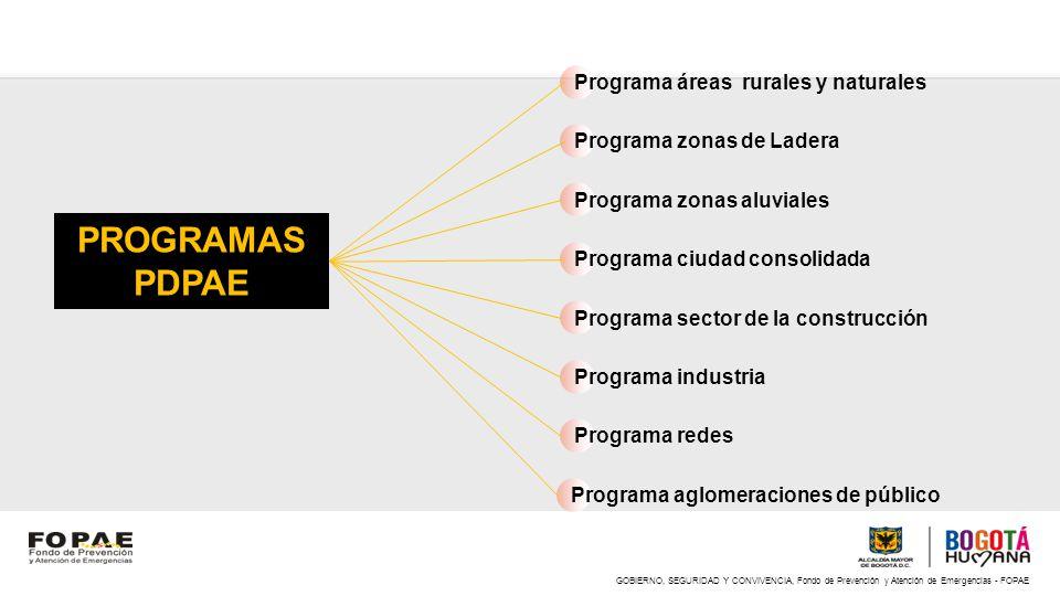 Programa áreas rurales y naturales Programa zonas de Ladera Programa zonas aluviales Programa ciudad consolidada Programa sector de la construcción Pr