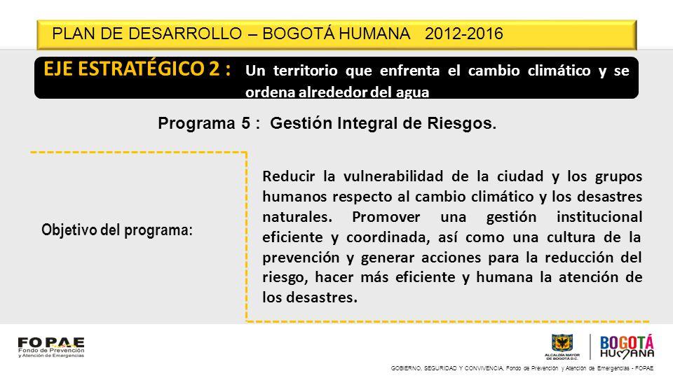 GOBIERNO, SEGURIDAD Y CONVIVENCIA, Fondo de Prevención y Atención de Emergencias - FOPAE EJE ESTRATÉGICO 2 : Un territorio que enfrenta el cambio clim