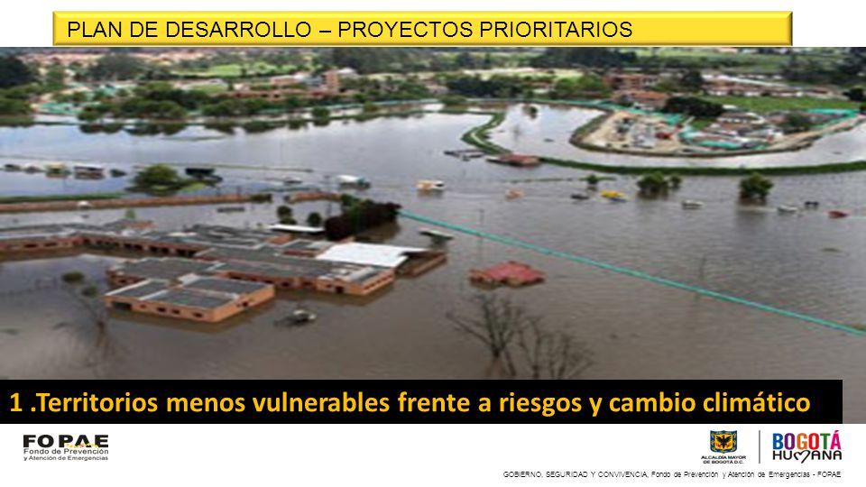 GOBIERNO, SEGURIDAD Y CONVIVENCIA, Fondo de Prevención y Atención de Emergencias - FOPAE 1.Territorios menos vulnerables frente a riesgos y cambio cli