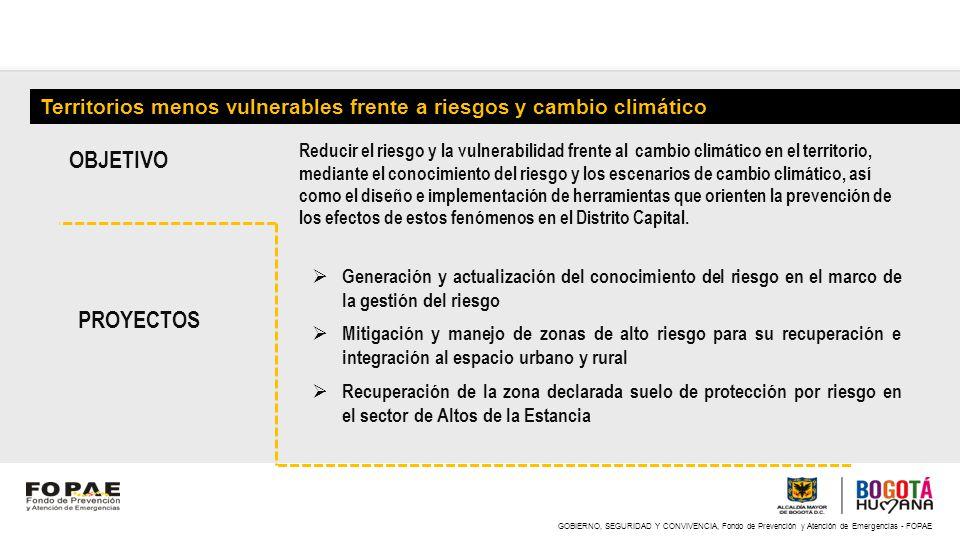 GOBIERNO, SEGURIDAD Y CONVIVENCIA, Fondo de Prevención y Atención de Emergencias - FOPAE Territorios menos vulnerables frente a riesgos y cambio climá
