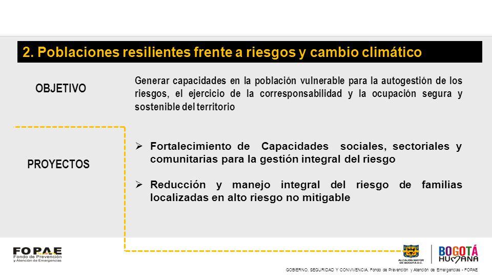 GOBIERNO, SEGURIDAD Y CONVIVENCIA, Fondo de Prevención y Atención de Emergencias - FOPAE 2. Poblaciones resilientes frente a riesgos y cambio climátic