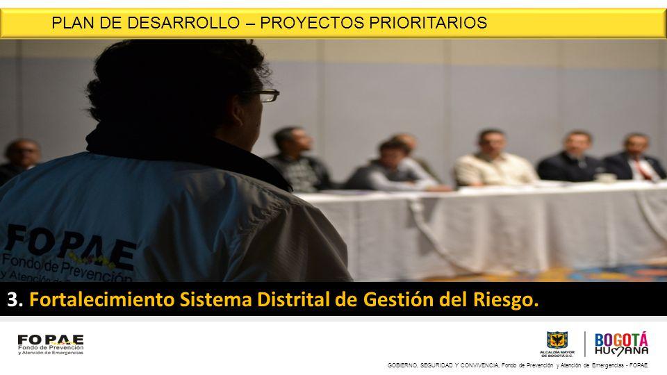 GOBIERNO, SEGURIDAD Y CONVIVENCIA, Fondo de Prevención y Atención de Emergencias - FOPAE 3. Fortalecimiento Sistema Distrital de Gestión del Riesgo. P