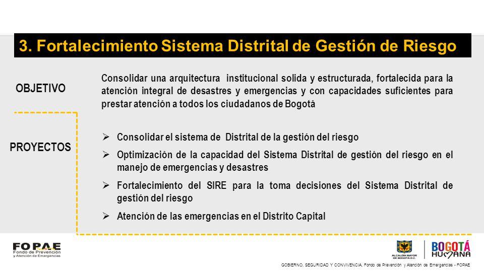 GOBIERNO, SEGURIDAD Y CONVIVENCIA, Fondo de Prevención y Atención de Emergencias - FOPAE 3. Fortalecimiento Sistema Distrital de Gestión de Riesgo Con