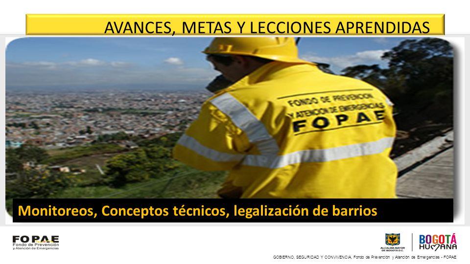 GOBIERNO, SEGURIDAD Y CONVIVENCIA, Fondo de Prevención y Atención de Emergencias - FOPAE Monitoreos, Conceptos técnicos, legalización de barrios AVANC