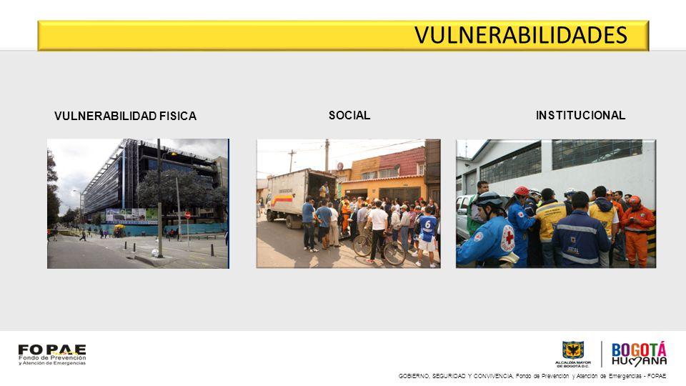 GOBIERNO, SEGURIDAD Y CONVIVENCIA, Fondo de Prevención y Atención de Emergencias - FOPAE VULNERABILIDAD FISICA SOCIAL INSTITUCIONAL VULNERABILIDADES