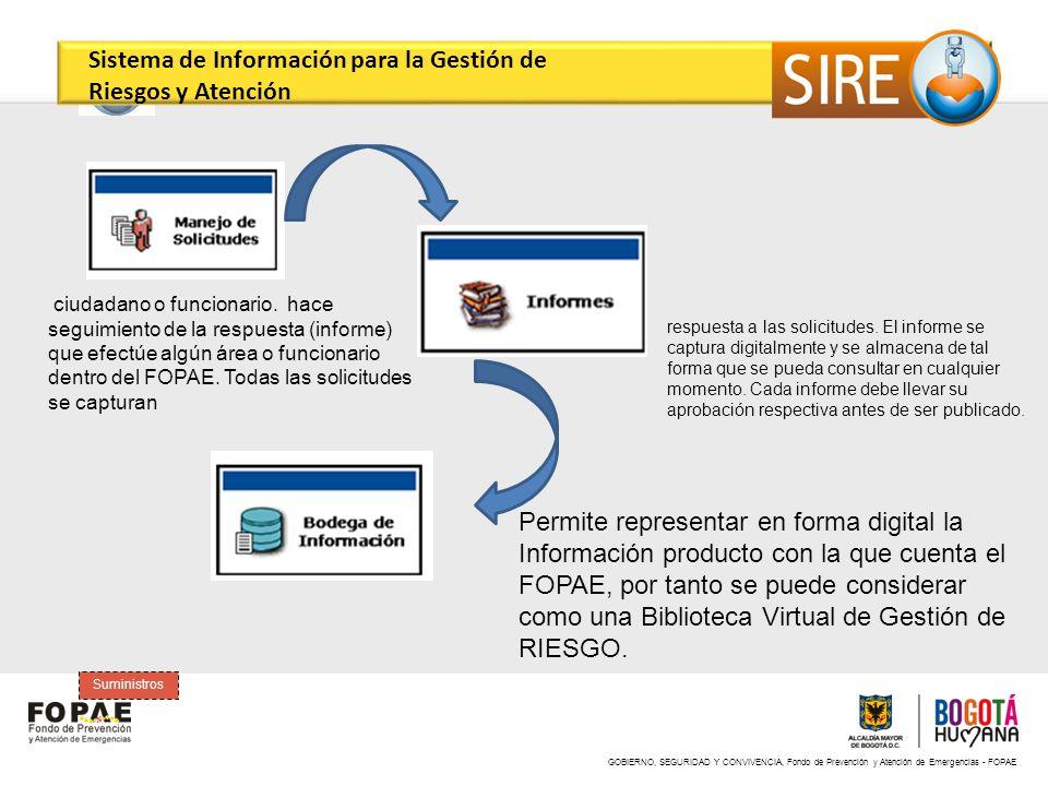GOBIERNO, SEGURIDAD Y CONVIVENCIA, Fondo de Prevención y Atención de Emergencias - FOPAE Suministros ciudadano o funcionario. hace seguimiento de la r