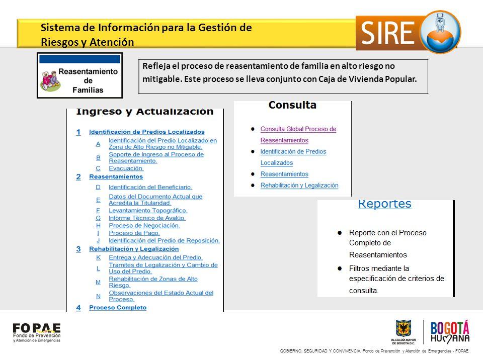 GOBIERNO, SEGURIDAD Y CONVIVENCIA, Fondo de Prevención y Atención de Emergencias - FOPAE Refleja el proceso de reasentamiento de familia en alto riesg