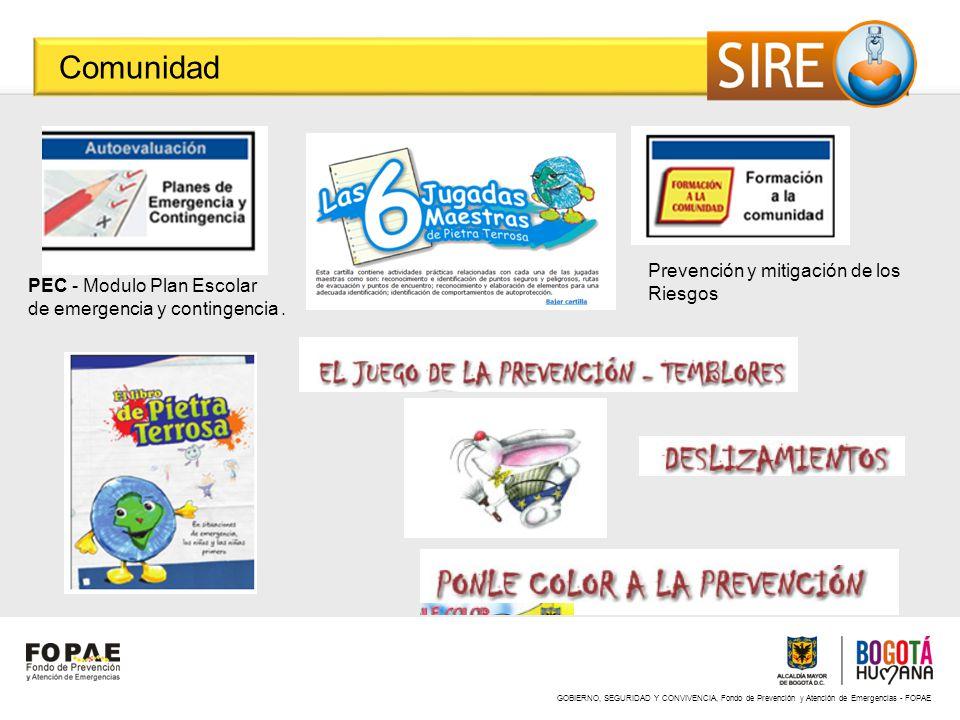 GOBIERNO, SEGURIDAD Y CONVIVENCIA, Fondo de Prevención y Atención de Emergencias - FOPAE Comunidad PEC - Modulo Plan Escolar de emergencia y contingen