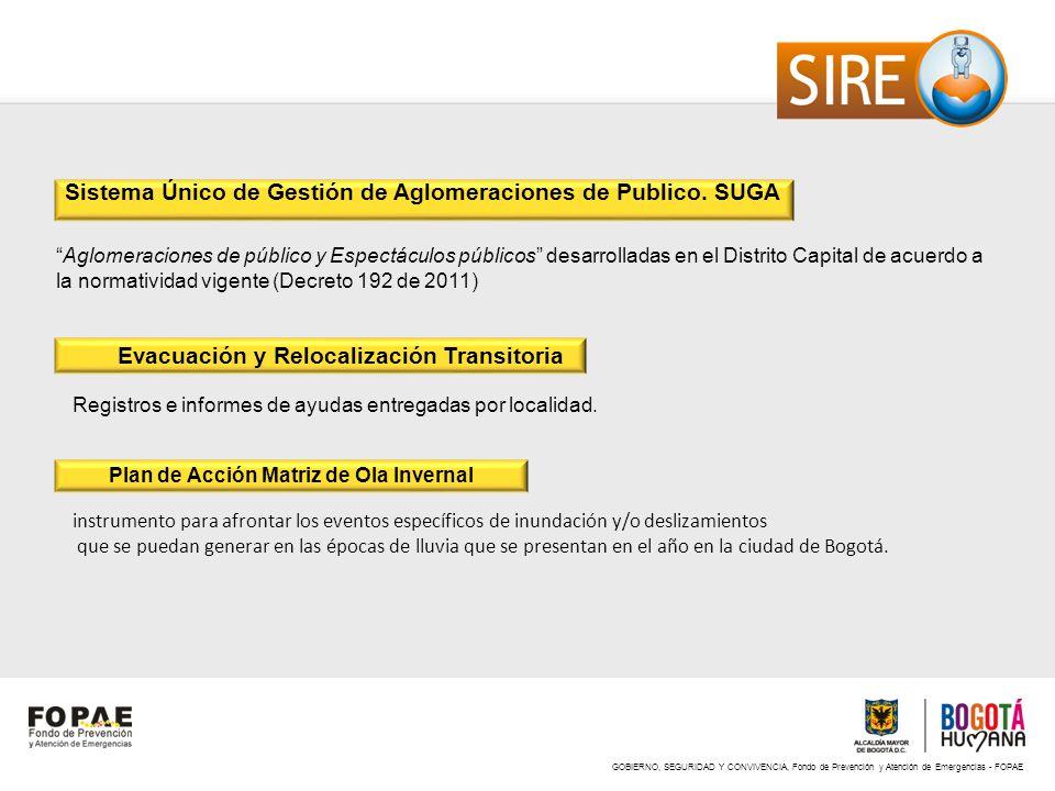 GOBIERNO, SEGURIDAD Y CONVIVENCIA, Fondo de Prevención y Atención de Emergencias - FOPAE Sistema Único de Gestión de Aglomeraciones de Publico. SUGA A