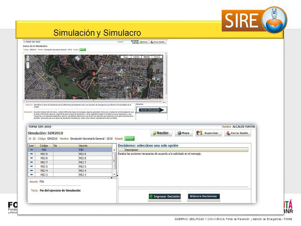 GOBIERNO, SEGURIDAD Y CONVIVENCIA, Fondo de Prevención y Atención de Emergencias - FOPAE Simulación y Simulacro