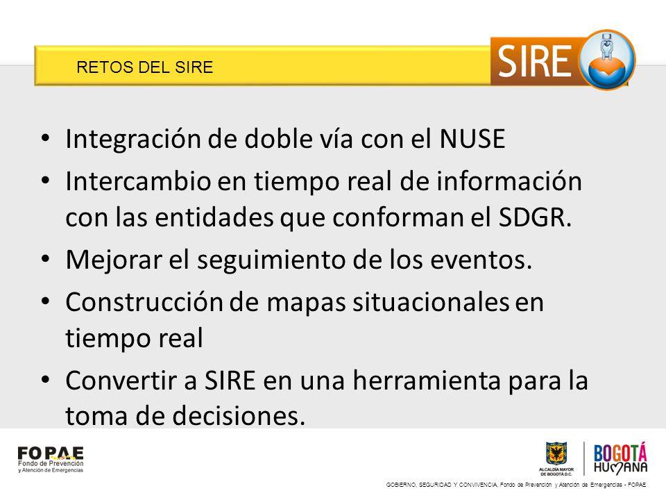 GOBIERNO, SEGURIDAD Y CONVIVENCIA, Fondo de Prevención y Atención de Emergencias - FOPAE RETOS DEL SIRE Integración de doble vía con el NUSE Intercamb