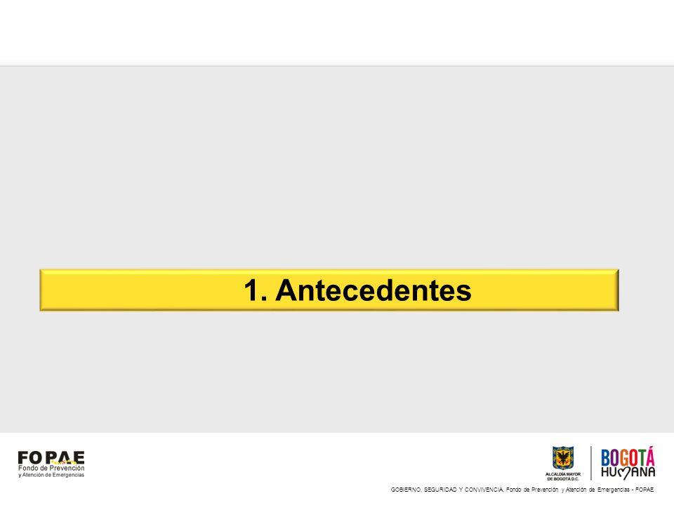 GOBIERNO, SEGURIDAD Y CONVIVENCIA, Fondo de Prevención y Atención de Emergencias - FOPAE 1. Antecedentes