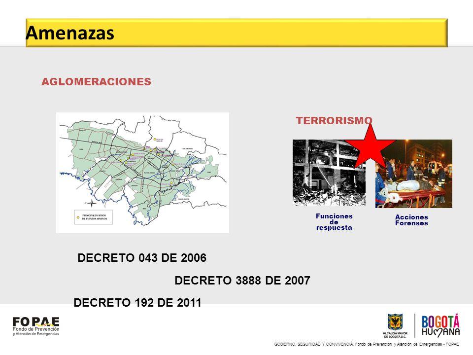 GOBIERNO, SEGURIDAD Y CONVIVENCIA, Fondo de Prevención y Atención de Emergencias - FOPAE AGLOMERACIONES Funciones de respuesta Acciones Forenses TERRO