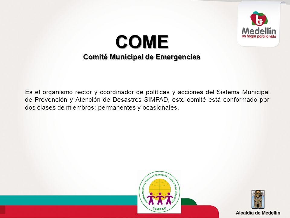 Es el organismo rector y coordinador de políticas y acciones del Sistema Municipal de Prevención y Atención de Desastres SIMPAD, este comité está conf