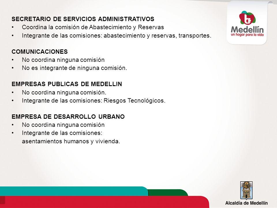 SECRETARIO DE SERVICIOS ADMINISTRATIVOS Coordina la comisión de Abastecimiento y Reservas Integrante de las comisiones: abastecimiento y reservas, tra
