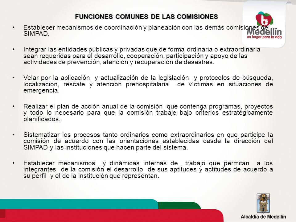FUNCIONES COMUNES DE LAS COMISIONES Establecer mecanismos de coordinación y planeación con las demás comisiones del SIMPAD. Integrar las entidades púb