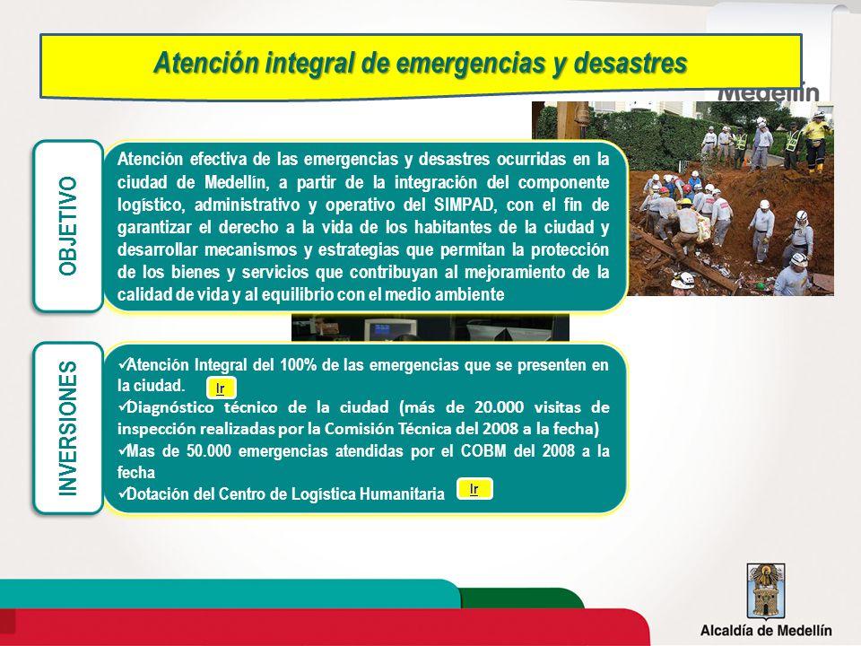 Atención efectiva de las emergencias y desastres ocurridas en la ciudad de Medellín, a partir de la integración del componente logístico, administrati