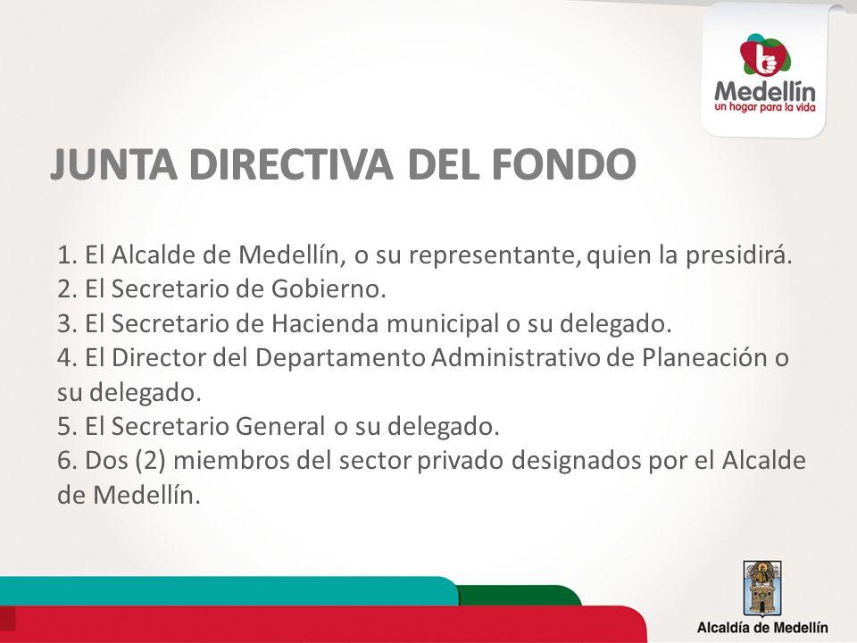 1. El Alcalde de Medellín, o su representante, quien la presidirá. 2. El Secretario de Gobierno. 3. El Secretario de Hacienda municipal o su delegado.