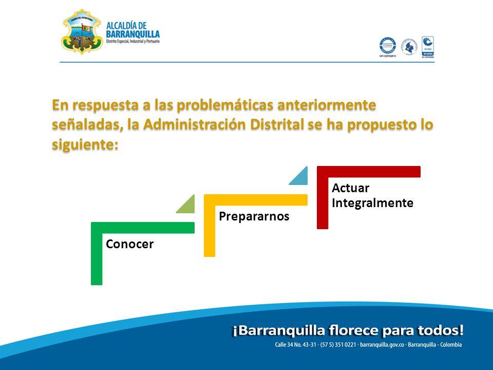 En respuesta a las problemáticas anteriormente señaladas, la Administración Distrital se ha propuesto lo siguiente: