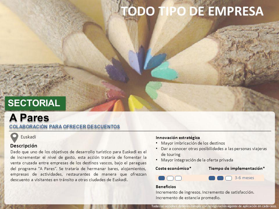 TODO TIPO DE EMPRESA SECTORIAL Euskadi Descripción Dado que uno de los objetivos de desarrollo turístico para Euskadi es el de incrementar el nivel de