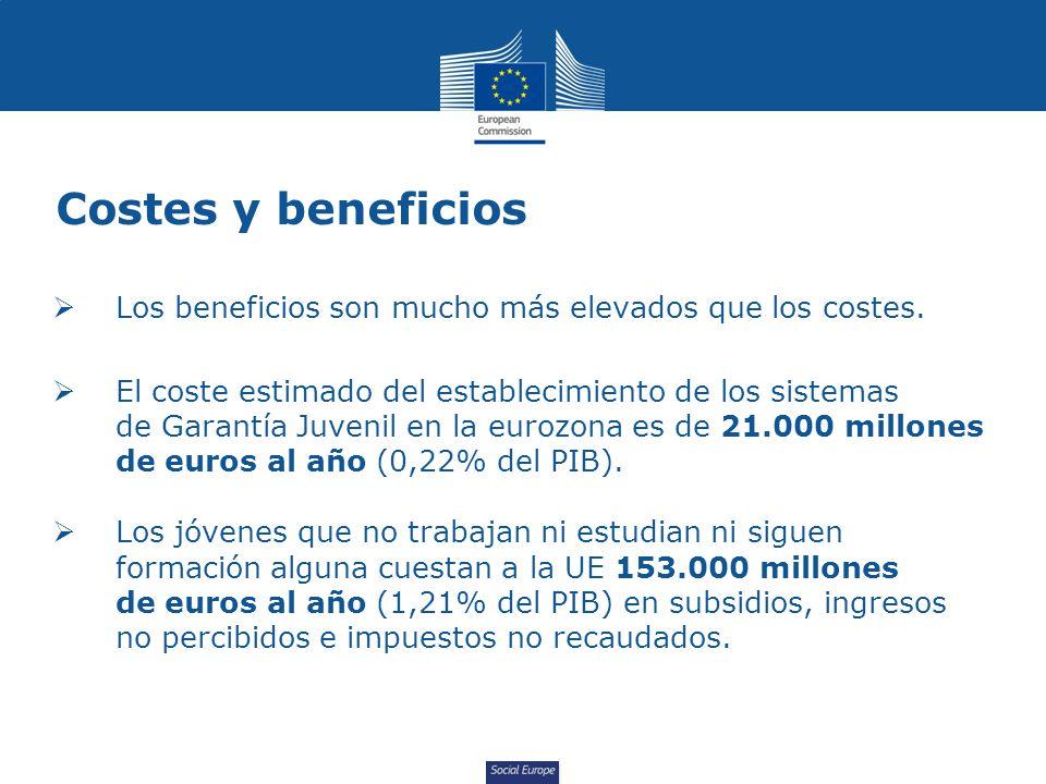 Social Europe Costes y beneficios Los beneficios son mucho más elevados que los costes.