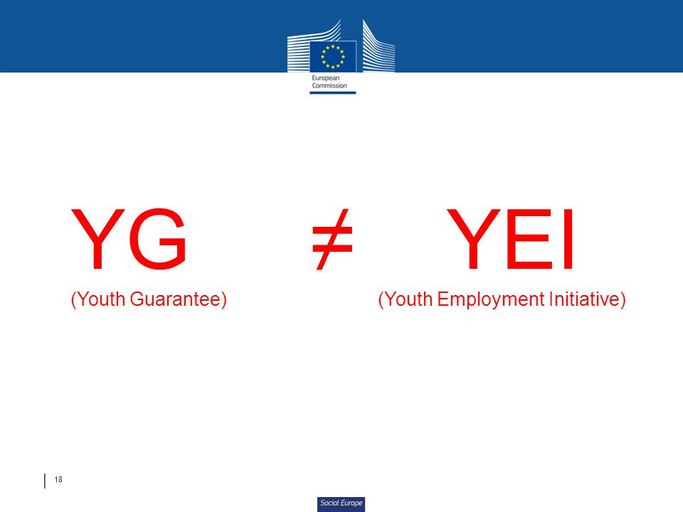 Social Europe YG YEI (Youth Guarantee)(Youth Employment Initiative) 18