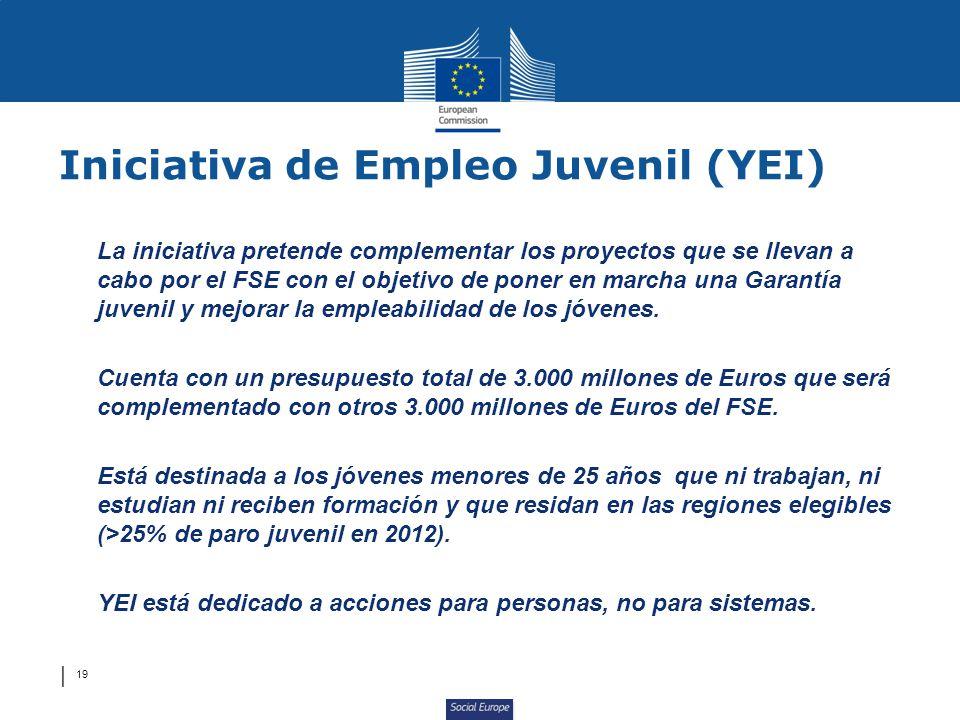 Social Europe 19 La iniciativa pretende complementar los proyectos que se llevan a cabo por el FSE con el objetivo de poner en marcha una Garantía juvenil y mejorar la empleabilidad de los jóvenes.