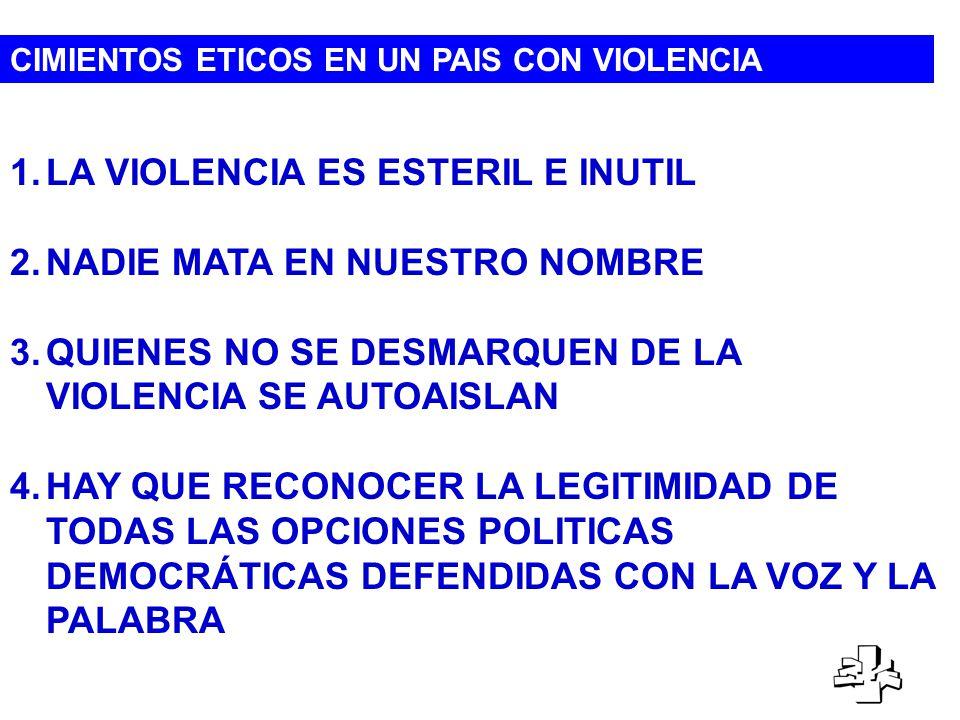 CIMIENTOS ETICOS EN UN PAIS CON VIOLENCIA 1.LA VIOLENCIA ES ESTERIL E INUTIL 2.NADIE MATA EN NUESTRO NOMBRE 3.QUIENES NO SE DESMARQUEN DE LA VIOLENCIA SE AUTOAISLAN 4.HAY QUE RECONOCER LA LEGITIMIDAD DE TODAS LAS OPCIONES POLITICAS DEMOCRÁTICAS DEFENDIDAS CON LA VOZ Y LA PALABRA