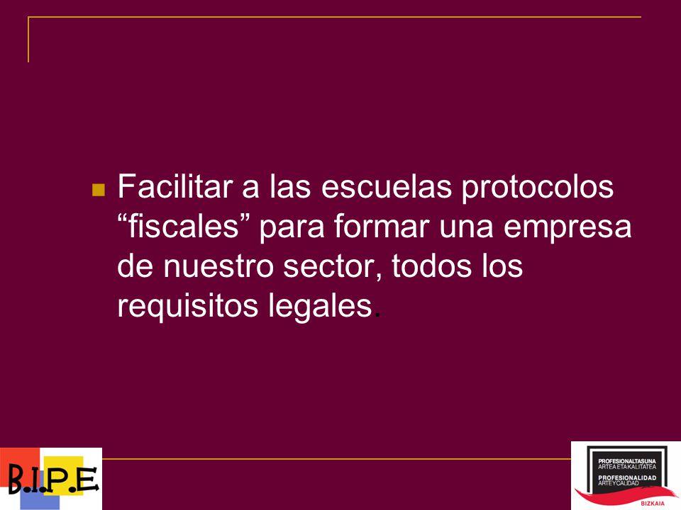 Facilitar a las escuelas protocolos fiscales para formar una empresa de nuestro sector, todos los requisitos legales.