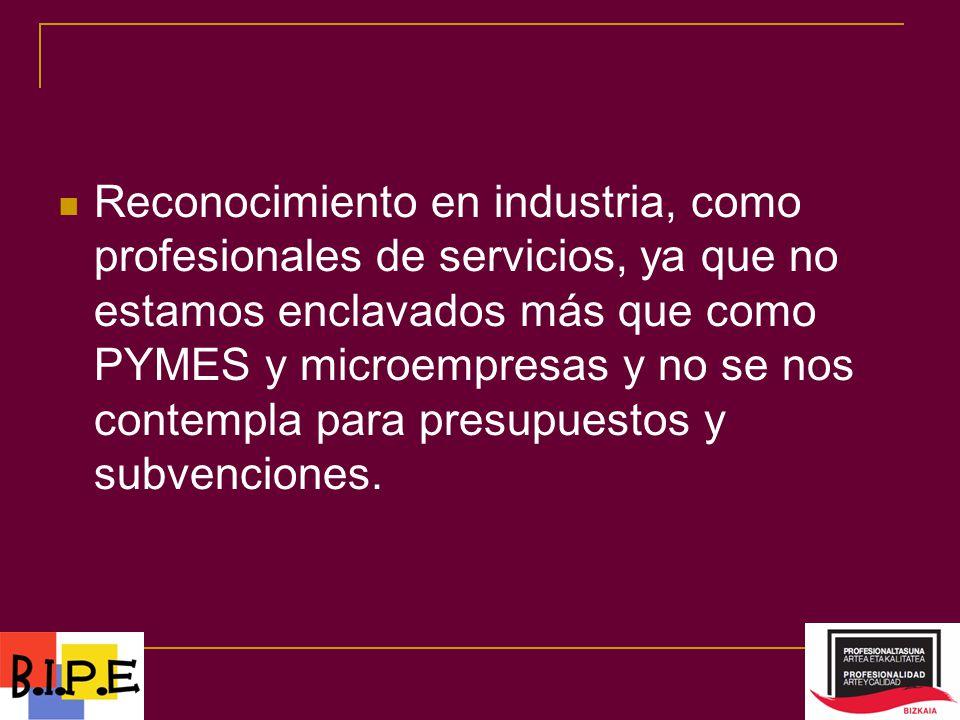 Reconocimiento en industria, como profesionales de servicios, ya que no estamos enclavados más que como PYMES y microempresas y no se nos contempla para presupuestos y subvenciones.