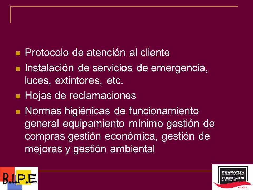 Protocolo de atención al cliente Instalación de servicios de emergencia, luces, extintores, etc.