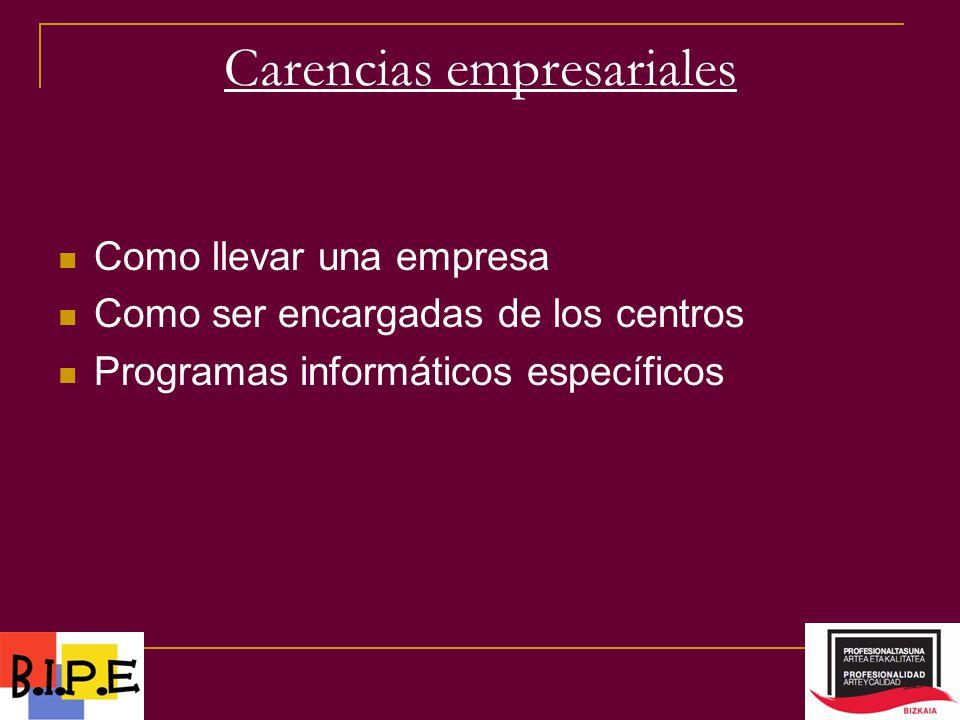 Carencias empresariales Como llevar una empresa Como ser encargadas de los centros Programas informáticos específicos