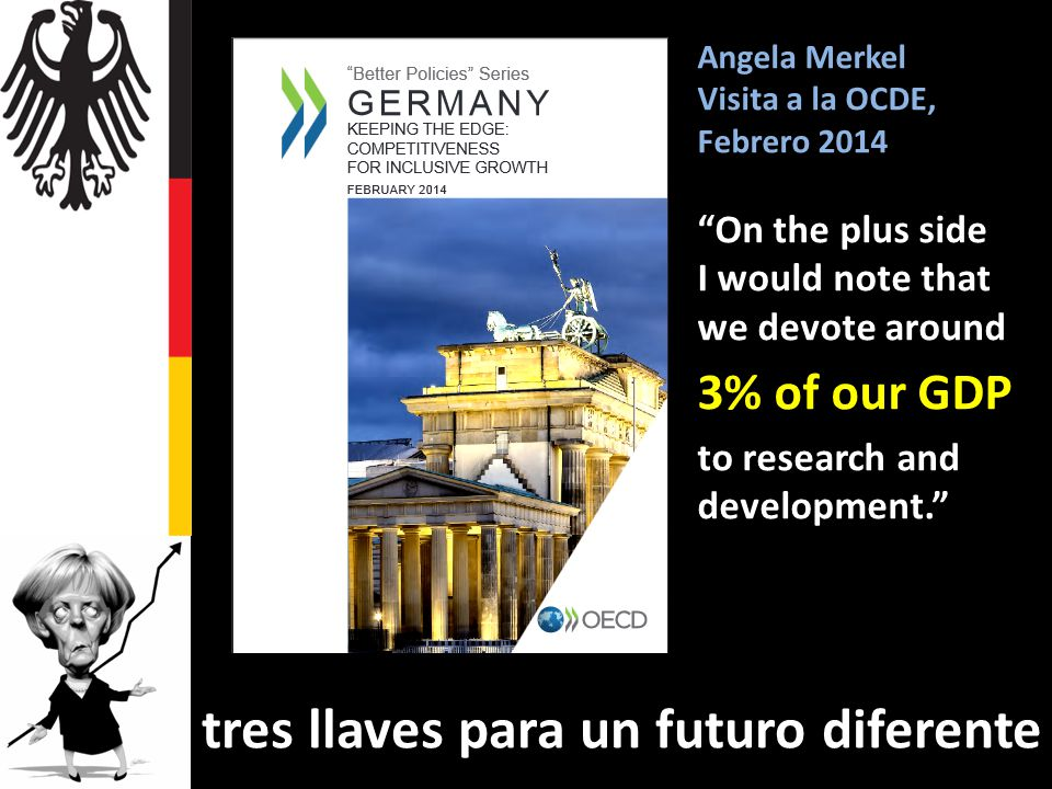 Angela Merkel Visita a la OCDE, Febrero 2014 On the plus side I would note that we devote around 3% of our GDP to research and development.