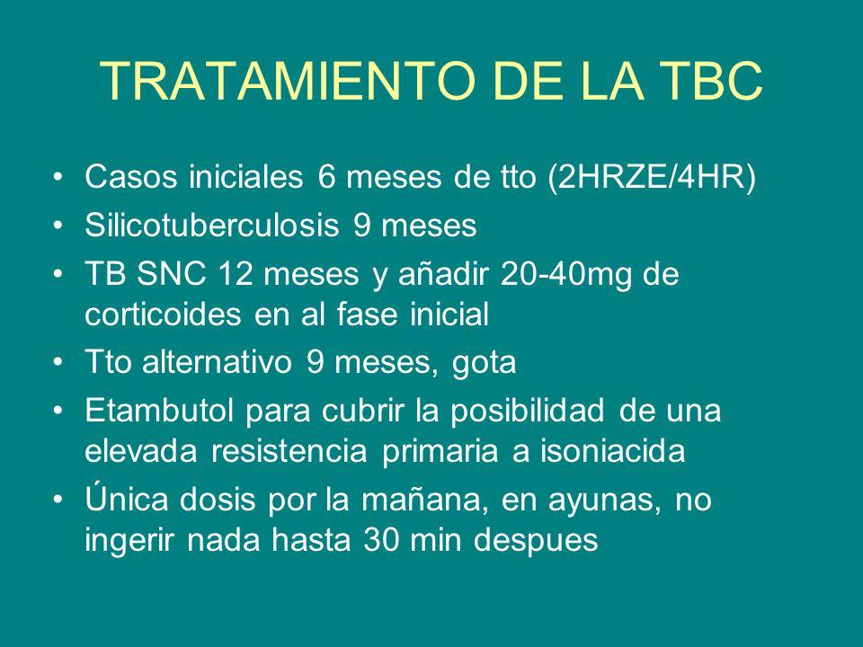 TRATAMIENTO DE LA TBC Casos iniciales 6 meses de tto (2HRZE/4HR) Silicotuberculosis 9 meses TB SNC 12 meses y añadir 20-40mg de corticoides en al fase