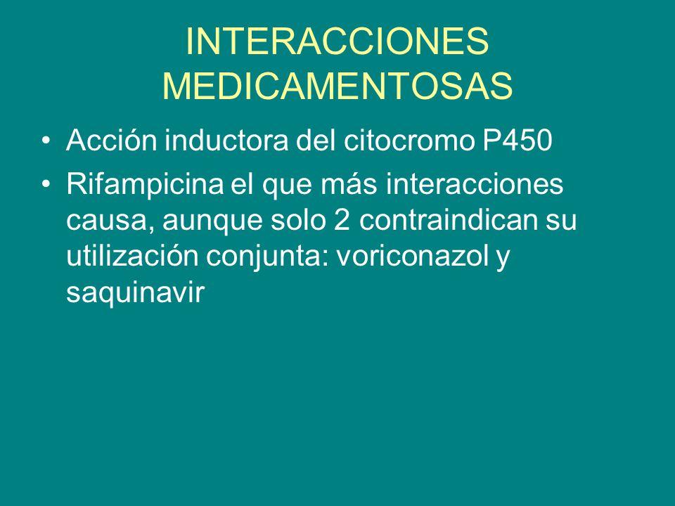 INTERACCIONES MEDICAMENTOSAS Acción inductora del citocromo P450 Rifampicina el que más interacciones causa, aunque solo 2 contraindican su utilizació