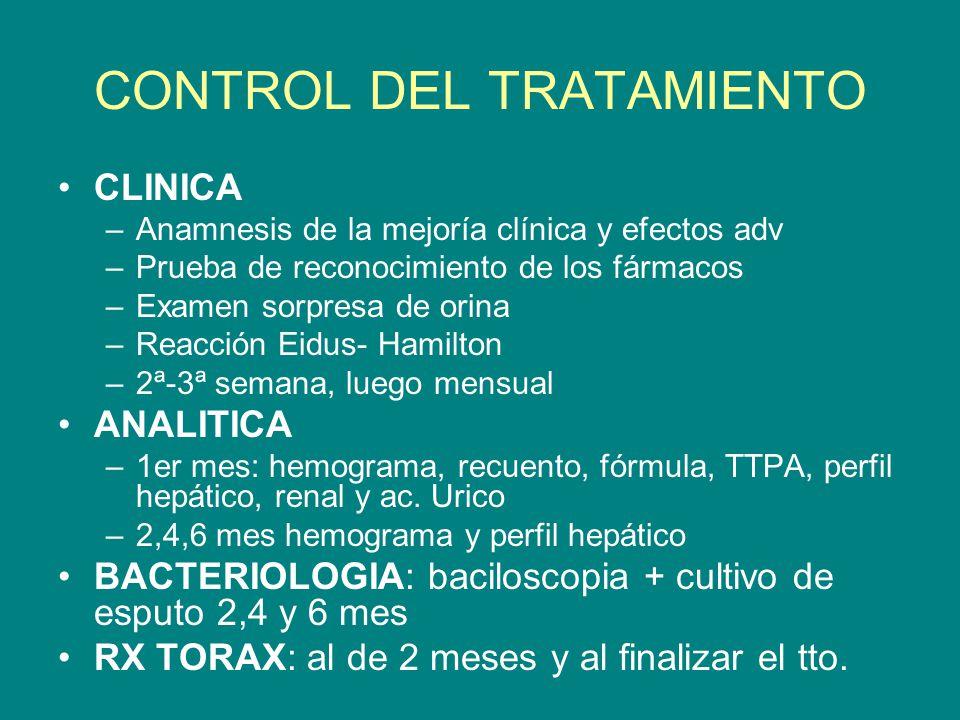 CONTROL DEL TRATAMIENTO CLINICA –Anamnesis de la mejoría clínica y efectos adv –Prueba de reconocimiento de los fármacos –Examen sorpresa de orina –Re