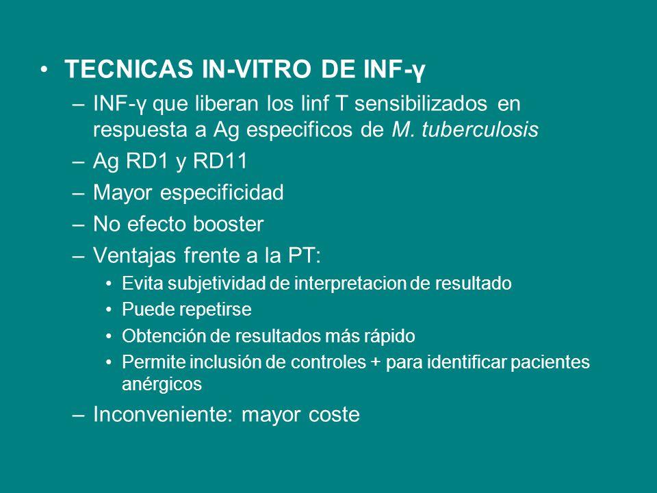 TECNICAS IN-VITRO DE INF-γ –INF-γ que liberan los linf T sensibilizados en respuesta a Ag especificos de M. tuberculosis –Ag RD1 y RD11 –Mayor especif